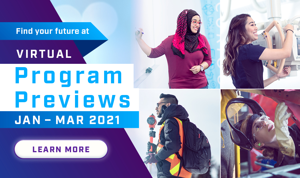 Find your future at Virtual Program Previews- January to March 2021. Register Today